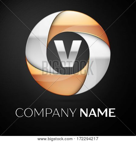 Letter V vector logo symbol in the colorful circle on black background. Vector template for your design