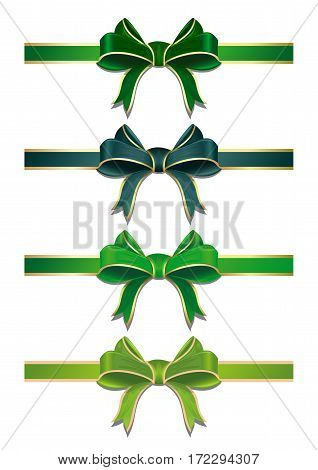 Set of green ribbons with bows. Green ribbons with bows to Easter or St. Patrick's Day. Vector illustration of green ribbons in different shades isolated on white background