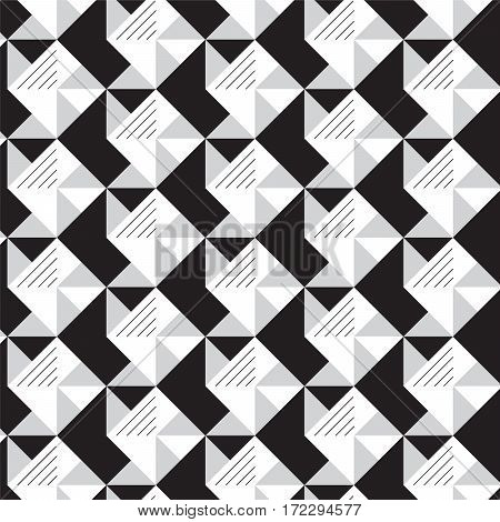 black and white triangles crosswise with lines pattern background vector illustration image