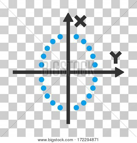 Ellipse Plot vector pictogram. Illustration style is flat iconic bicolor blue and gray symbol on a transparent background.