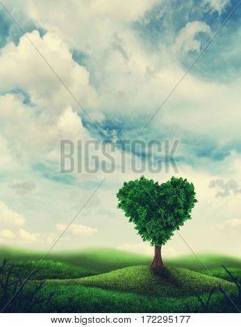 Landscape with heart shape tree