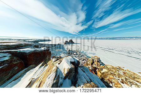 Wide Aerial Shaman Cape On Olkhon Island, Lake Baikal