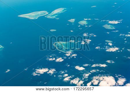 Aerial View Of Great Barrier Reef. The Percy Group Of Reefs