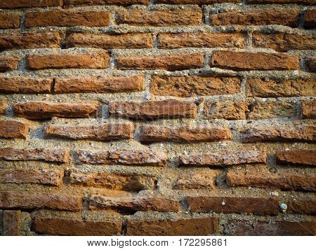 Old red brick wall textures use as background