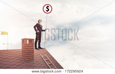 Young businessman in suit holding signboard with dollar symbol. Mixed media