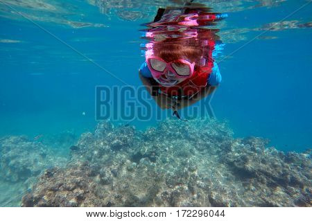 Child (girl age 6-7) snorkeling dive over a coral reef in Vanu leavu island Fiji. Travel concept Real people copy space