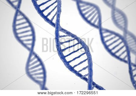 DNA molecule spiral structures on abstract white background. Biology science and medical technology concept. 3D illustration