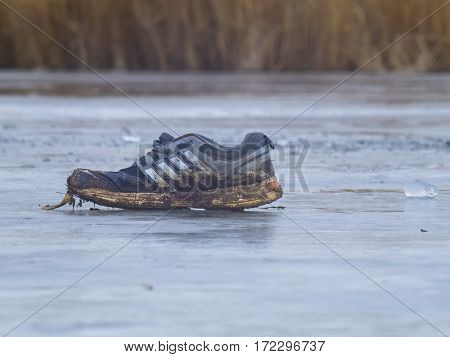 The dirty Sneaker froze on the ice