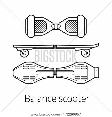 Gyro scooter vector illustration. Alternative city transport self-balancing board gyroscooter in thin line design. Personal transportation gadget. Modern balance electrical vehicle.