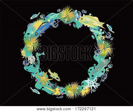 Hand drawn in a cartoon style wreath of sealife, isolated on black