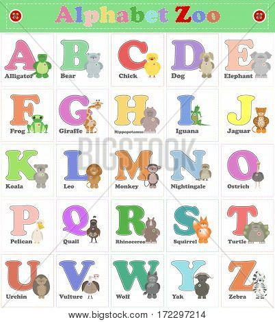 Alphabet Zoo funny plush animals. English alphabet. Vector cartoon