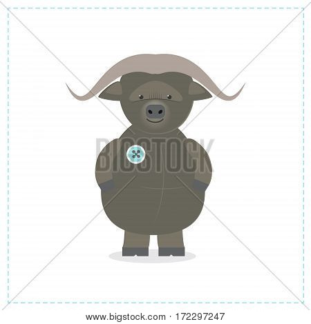 Buffalo plush toy. Vector cartoon character isolated on white background