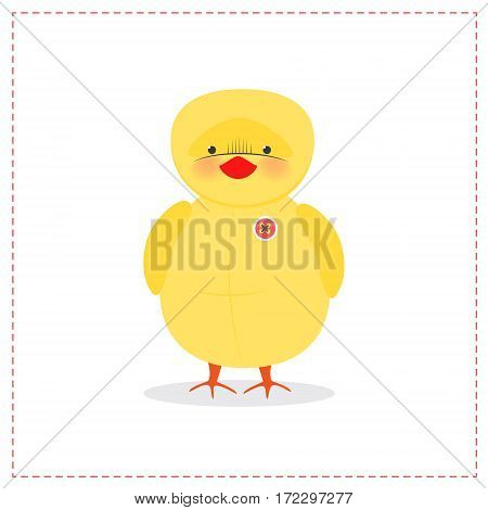 Chick. Plush toy little chicken. Vector isolated