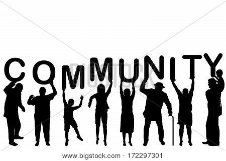 Community concept with people silhouettes holding letters with word COMMUNITY