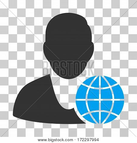 Global Manager vector pictograph. Illustration style is flat iconic bicolor blue and gray symbol on a transparent background.