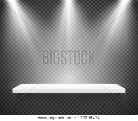 Empty white shelf illuminated by three spotlights on transparent background. Vector realistic hanging rack for showcase