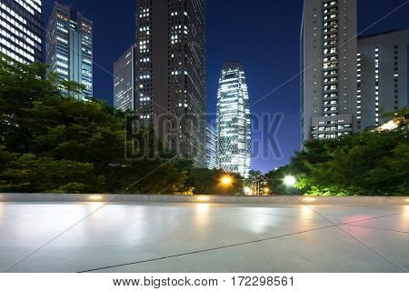 modern office buildings in tokyo at twilight from empty floor