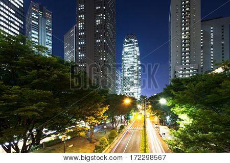 night scene of road in midtown of tokyo