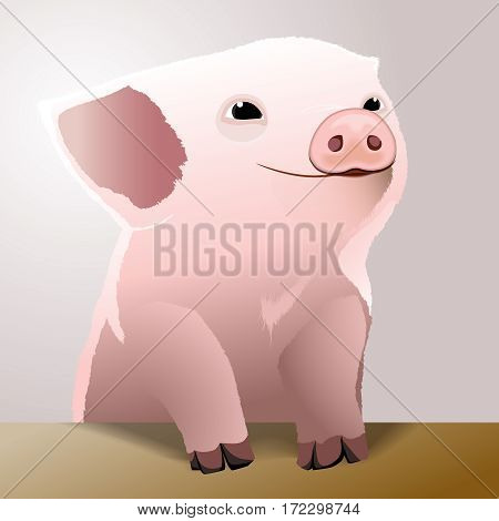 Cute piglet. Happy pig face. Cartoon character. Vector illustration