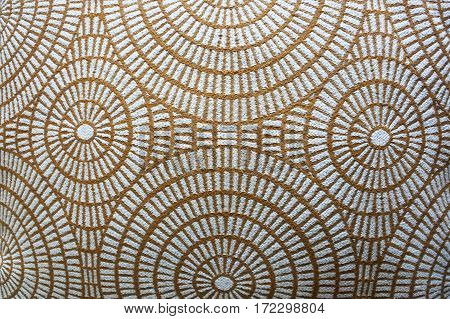 Round spiral abstract background gold and white pattern texture.