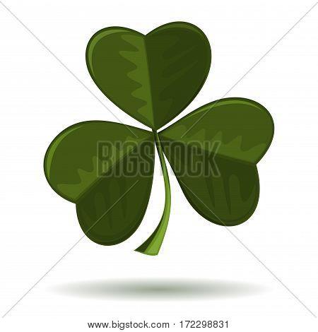 Symbol of Christianity in Ireland. Shamrock, seamrog, trifoliate clover - symbol of Ireland isolated on a white background