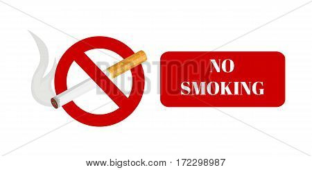 No smoking and smoking area labels with tobacco cigarette vector illustration.