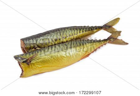 Two whole cold-smoked Atlantic mackerel on a light background
