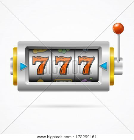 Realistic Slot Machine with One Arm Gambling Symbol of Games Casino Luck. Vector illustration