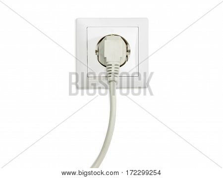 White socket outlet European standard with connected white power cable with corresponding AC power plug closeup on a light background