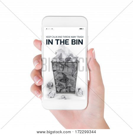 Woman using her smart phone searching waste paper bin information Full waste paper bin around crumpled paper balls. in clean and recycle concept Isolated on white background.