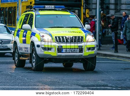 Dublin, Ireland - 19 Feb 2017: Gardai vehicle - Irish Police patrolling Dublin streets