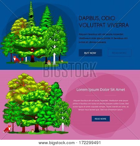Forest green trees on the grass bush in summer landscape background. Cartoon vector set trees in outdoor park. Outdoor trees in the park with branch, foliagles and leafs. Isolated ecology natural wood