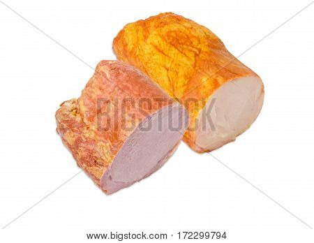 Partly cut smoked cooked ham with pork loin and ham with turkeys on a light background