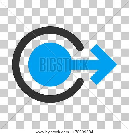 Logout vector pictograph. Illustration style is flat iconic bicolor blue and gray symbol on a transparent background.