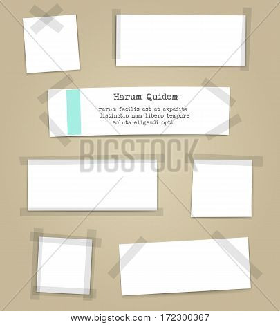 Vector paper sheets with scotch tape pieces. Papers notes with adhesive tape set isolated on white background