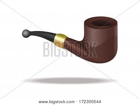 Tobacco pipe. Smoking pipe icon isolated on white background. Closeup classic design of tobacco pipe. Realistic vector illustration