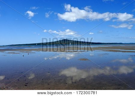 Landscape view of Rangitoto Island near Auckland New Zealand.
