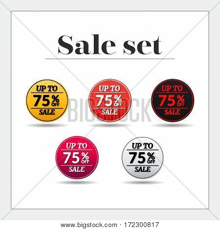 Sale set 75% off sticker, banner, Emblem sale isolated on white background. Big sale, special offer, discounts. Vector illustration.