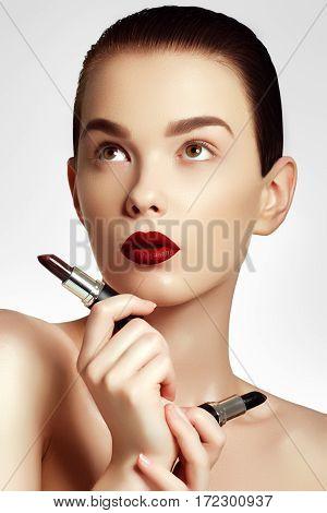 Sexy Red Lips. Beautiful Lip Makeup. Sensual Open Mouth With. Lipstick And Lip Gloss. Fashion Make U