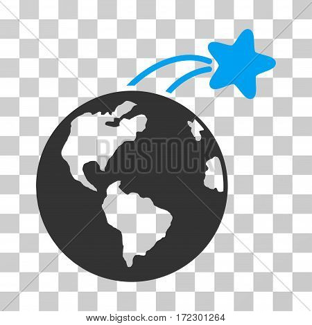 Rising Satellite On Earth vector icon. Illustration style is flat iconic bicolor blue and gray symbol on a transparent background.