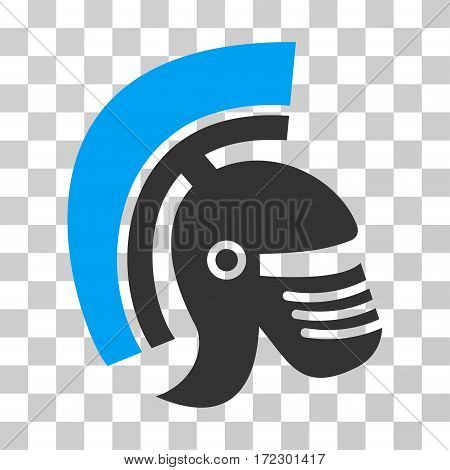 Rome Helmet vector pictogram. Illustration style is flat iconic bicolor blue and gray symbol on a transparent background.