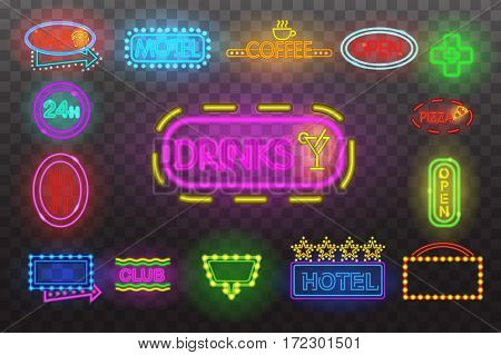Set of neon sign light at night at transparent background vector illustration, isolated bright glowing electric advertise illuminated banner for graphic design or icons.