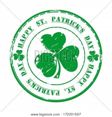 Green grunge rubber stamp with clover and the text Happy St. Patrick's Day written inside. March 17. Design element. Patrick's Day design. St. Patrick's Day background. Vector Illustration