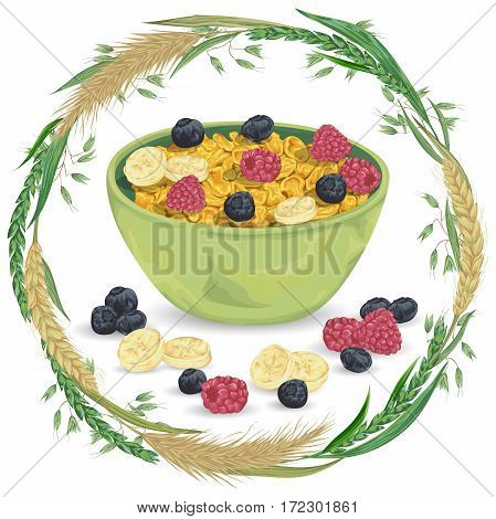 Cereal porridge in bowl with raspberry, blueberry, banana and wreath with cereals. Barley, wheat, rye and oat. Healthy breakfast. Isolated elements. Hand drawn vector illustration