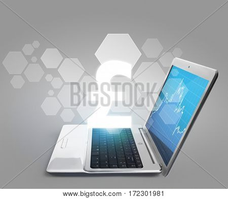 Laptop with blank screen aluminium body