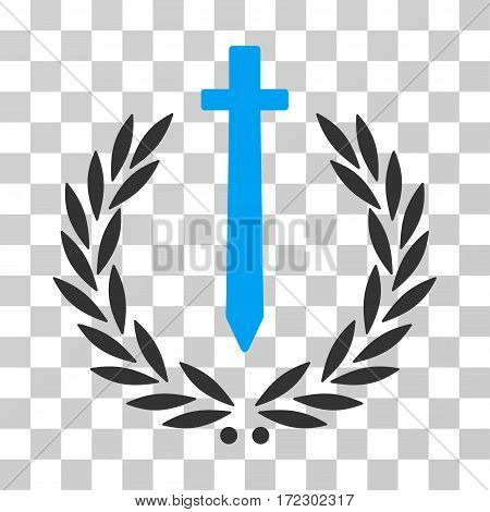 Sword Honor Embleme vector pictogram. Illustration style is flat iconic bicolor blue and gray symbol on a transparent background.