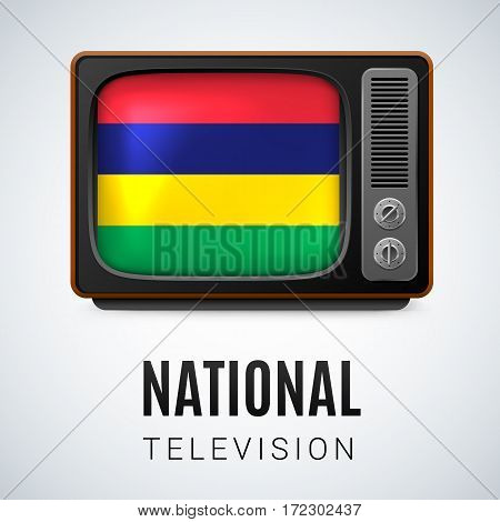 Vintage TV and Flag of Mauritius as Symbol National Television. Tele Receiver with Mauritian flag