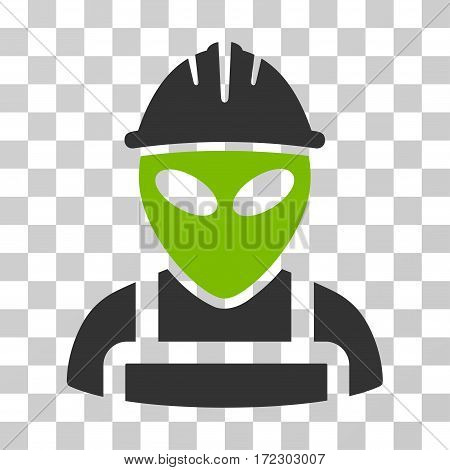Alien Worker vector icon. Illustration style is flat iconic bicolor eco green and gray symbol on a transparent background.