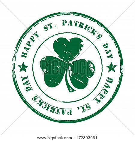 Green grunge rubber stamp with clover and the text Happy St. Patrick's Day written inside. Design element for celebration of Saint Patrick's Day. St. Patrick's Day background. Vector Illustration
