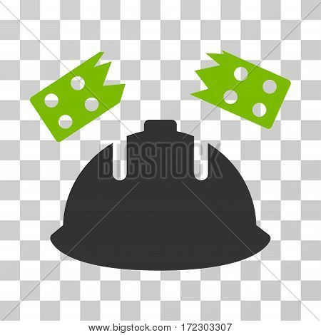 Brick Helmet Accident vector icon. Illustration style is flat iconic bicolor eco green and gray symbol on a transparent background.